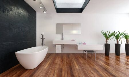 Spacious modern bathroom with skylight and a freestanding bathtub in front of a black feature wall on a wooden floor with vanities and potted green plants. 3d rendering Banque d'images - 130167309