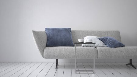 Modern upholstered grey couch or day bed with comfy cushion and metal legs on a monochromatic white room with painted floorboards. 3d rendering Banque d'images - 130167311