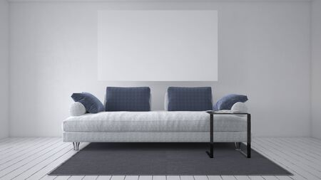 Grey sofa with cushions and large blank white picture frame mounted on the wall above in a monochromatic living room interior. 3d rendering Banque d'images - 130167312