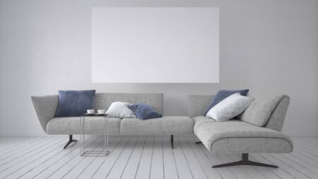 Stylish contemporary sofa with cushions below a blank white canvas mounted on the wall in a monochromatic room with grey decor. 3d rendering Banque d'images - 130167315