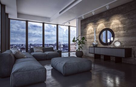 Luxury living room interior with large view windows overlooking a city in evening light with down lights shining on a feature wood textured wall and large comfortable sofas and ottoman. 3d rendering Banque d'images - 130167318