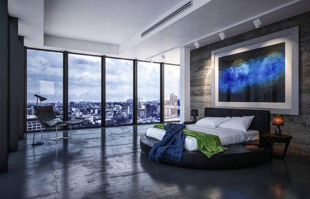 L'intérieur de la chambre de luxe avec lit sur un cadre circulaire noir ci-dessous présente des œuvres d'art sur un sol monochrome réfléchissant avec vue sur les fenêtres donnant sur la ville. rendu 3D