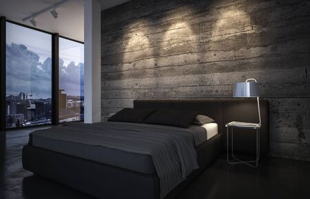 Luxury bedroom at dusk with down lights casting a pattern on a wood feature wall above a neat king size bed with large windows overlooking the city. 3d rendering