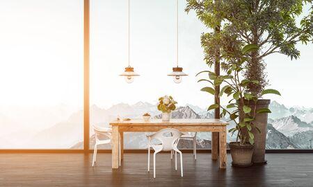 Table en bois avec des chaises en plastique à côté de l'arbre en pot devant la fenêtre donnant sur la chaîne de montagnes enneigées blanches. rendu 3D