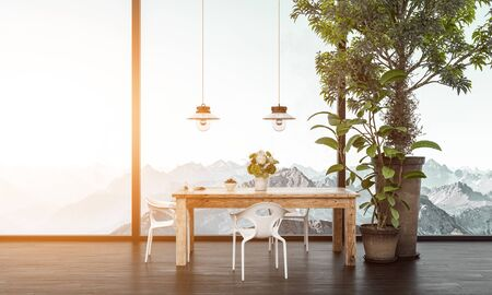 Wooden table with plastic chairs next to potted tree in front of window overlooking white snowy mountain range. 3d rendering Banque d'images - 130167323