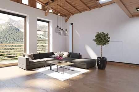 Bright spacious modern luxury living room with double volume wood ceiling and large view windows overlooking forested mountains letting in sunlight. 3d rendering 免版税图像