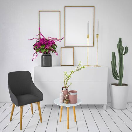 Pretty fresh monochromatic white living room interior with three empty picture frames above a small white cabinet with colorful flowers and cactus, single chair and ceramics in foreground. 3d rendering Banque d'images - 130167321