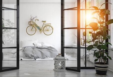 Contemporary interior with low grey bed and tall potted plant separated by glass doors. Bright sunlight shining through leaves. 3d rendering Banque d'images - 130167328