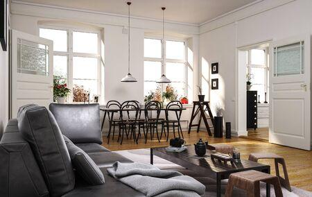Ampio e moderno soggiorno a pianta aperta con un comodo divano grigio e una zona pranzo con un tavolino con sedie in legno curvato con la luce del sole che entra attraverso due grandi finestre. rendering 3d Archivio Fotografico