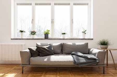 Metal framed brown sofa with cushions and throw rug below a bright window with potted plants on a hardwood parquet floor in a stylish living room interior. 3d rendering