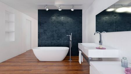 Modern bathroom with black and white decor, a boat-shaped tub and wall-mounted vanity over a wooden floor. 3d rendering Banque d'images - 130167329