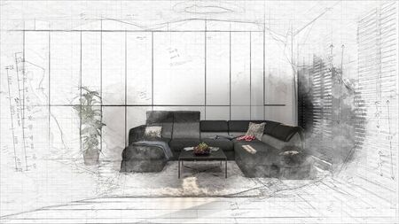 Sketched 3D design of living room interior with black corner couch and coffee table. Designers project becoming reality concept