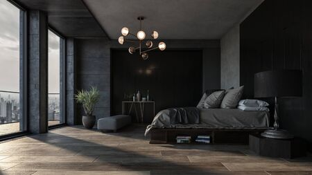 Bedroom with dark interior design and panoramic view of city downtown against king size bed. Luxury apartment or spacious hotel room interior concept