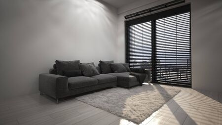Spacious living room in minimalist interior design with big grey couch and furry carpet near high window with blinds