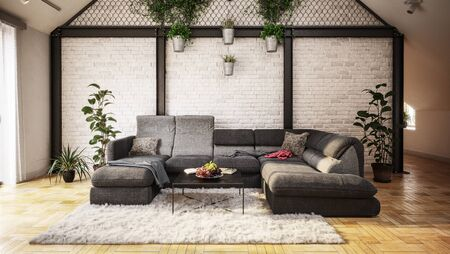 Cozy living room interior design in the attic of a house with a wall decorated in a garden style with potted plants hanging on ropes behind cozy wide couch on furry carpet