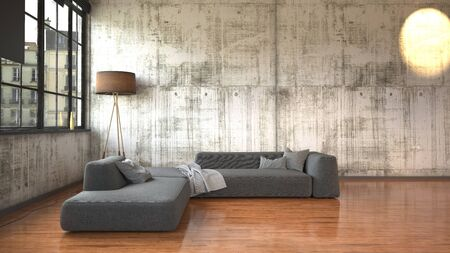 Modern minimalist loft conversion with textured walls, a large view window and corner angle sofa with freestanding lamp on a wooden floor. 3d render