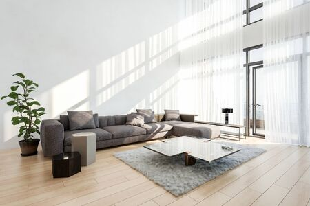 Spacious bright double volume modern living room with lacy curtains on view windows and a large comfortable sofa with coffee table on a wooden floor. 3d render