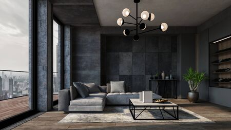 Modern luxury city apartment with textured grey walls, comfortable matching sofas and large view windows leading to balcony overlooking the CBD. 3d render