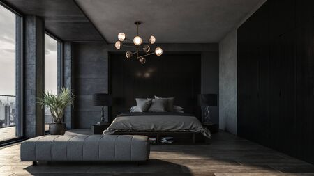 Spacious bedroom with dark interior and panoramic windows. King size bed with two floor lamps and grey linens in the middle 免版税图像