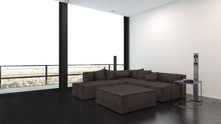 Minimalist interior design living room with large grey corner sofa, high-end stereo system and panoramic view windows with balcony
