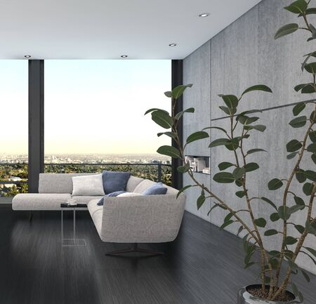 Minimalist interior design of a living room with corner couch of grey color against wide panoramic window and the indoor plant with green leaves in foreground