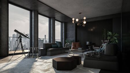 Luxury apartment with the view of downtown and the telescope near panoramic windows. Room with modern interior in dark grey and black colors and various living room furniture