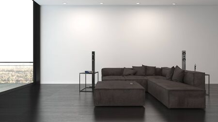 Large dark brown sofa with matching coffee table in a spacious living room facing floor to ceiling view windows in a minimalist luxury interior. 3d render 免版税图像