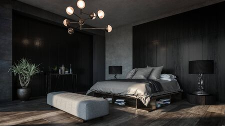 Design of luxury bedroom with dark interior of black and grey walls, big floor lamps and modern furniture. Diagonal view of the room 免版税图像