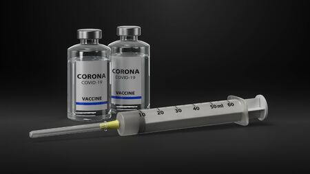 Vaccine and syringe injection. Prevention, immunization and treatment from corona virus infection (coronavirus disease 2019, COVID-19, nCoV 2019. Medicine infectious concept. 3d Rendering.