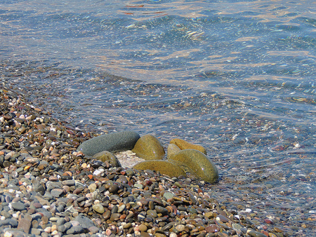 Sea Beach  Pebbles, clear water  photo
