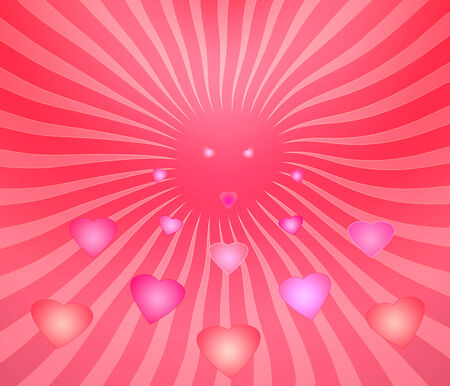 Abstract Glowing hearts are flying for good and love photo