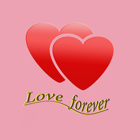 Two red hearts with the text love forever. photo