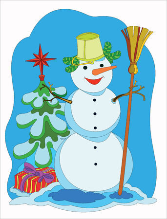 merry mood: Funny snowman.  Cheerful snowman in Christmas tree with gifts.
