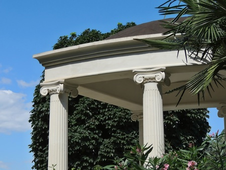 White columns of the Park rotunda. Park Aivazovsky in Partenit in the Crimea.