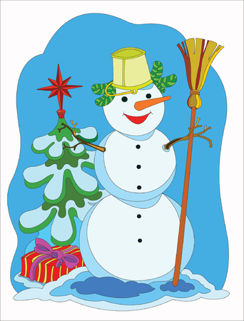 Cheerful snowman in Christmas tree with gifts. Vector
