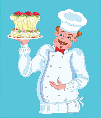 Confectioner. Cook-confectioner holding a beautiful cake on a plate. Vector