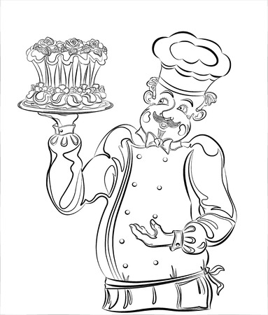 Pastry chef with a beautiful cake. Vector