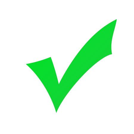 check: Green check mark isolated on a white background.
