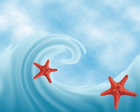echinoderm: Sea wave against the sky and sea stars. Raster illustration.