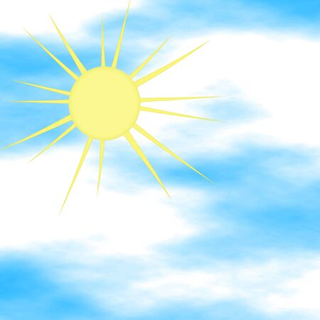 heavenly light: Bright yellow sun on a cloudy sky - raster illustration.
