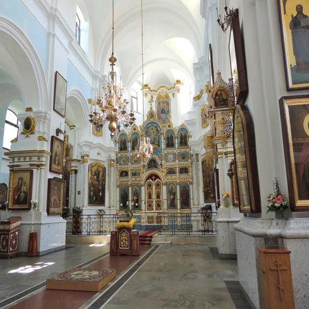 minsk: Orthodox Minsk Holy spirit Cathedral in Belarus indoors.