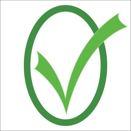 green check mark: Green check mark in a green oval.