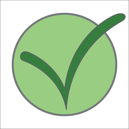 green tick: Dark green tick on a green circle.
