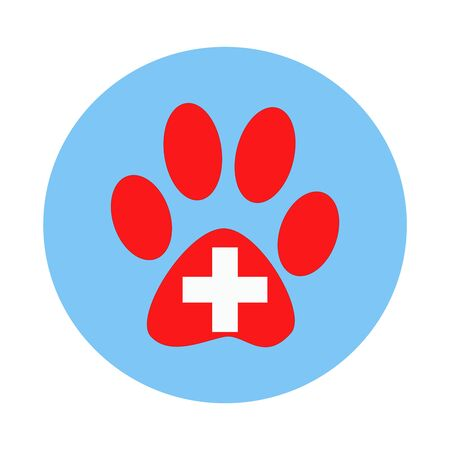 veterinary symbol: Veterinary symbol is the paw print of the animal in the blue circle.