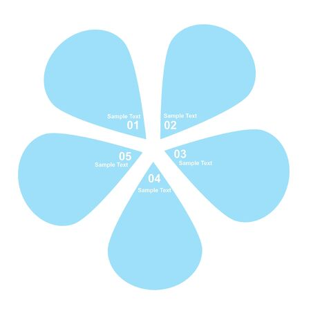 five petals: Infographic design template five blue drops. Stock Photo
