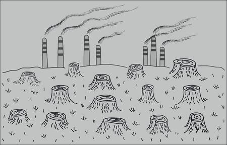 Ecologische ramp. Ontbossing en milieuvervuiling. Stockfoto