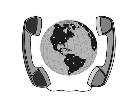 skype: Handset around the globe isolated on white. Global communication vector graphic image.