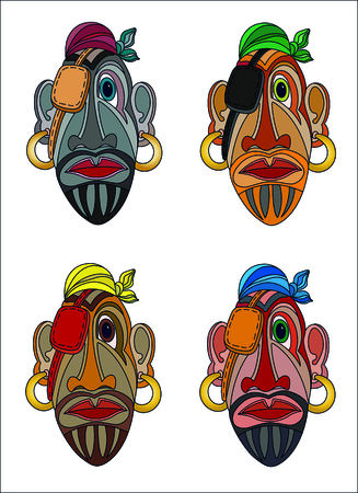 Pirate faces cartoon color mask isolated on white.