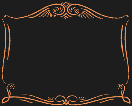 Golden frame is in Western style retro on a black background. Illustration