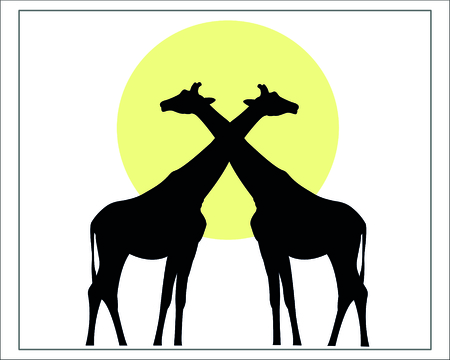 gravure: Giraffes isolated black silhouette against the sun, wild life African Savannah image.